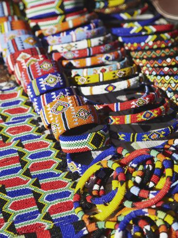 Colourful Traditional African Souvenirs on Beachfront, Durban, Kwazulu-Natal, South Africa Photographic Print