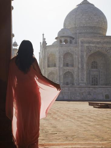 Woman in Sari at Taj Mahal, Agra, Uttar Pradesh, India (Mr) Photographic Print