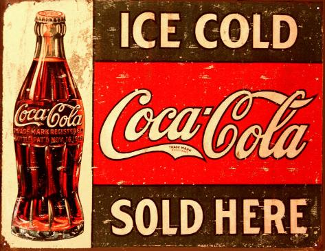 Ice Cold Coca-Cola Tin Sign