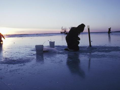 Ice fishing at sunset canada photographic print for Ice fishing canada