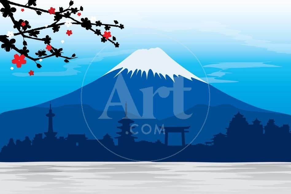 Mountain Fuji Japan Sakura View Landscape Travel Place Vector