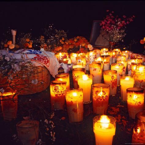 The Day of All Saints (Dia de Todos los Santos) Graves Adorned with Flowers, Michoacan, Mexico Photographic Print