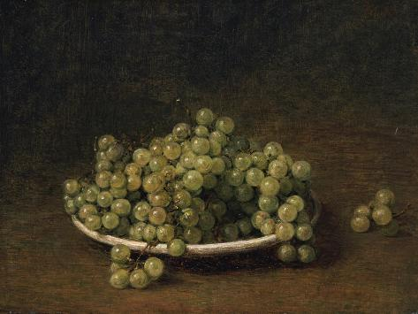 White Grapes on a Plate Lámina giclée