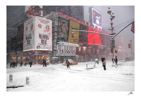 Blizzard on Times Square, 2006 Art Print