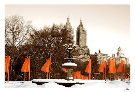 The Gates and Fountain, Central Park Art Print