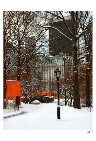 The Gates and Love Bridge, Central Park Art Print