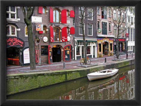 White Boat in Red Lights District, Amsterdam Framed Art Print