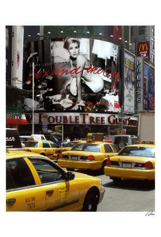 Yellow Cabs on Times Square Art Print