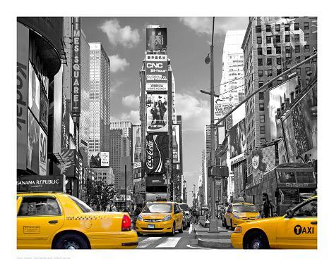Yellow Cabs, Times Square Art Print