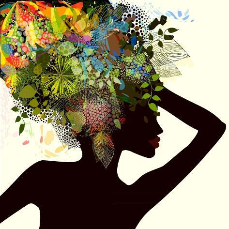 Silhouette of a Girl with Flowers. Raster Art Print