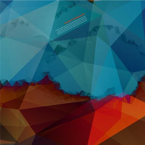 Vector Abstract Background. Polygon Blue Art Print