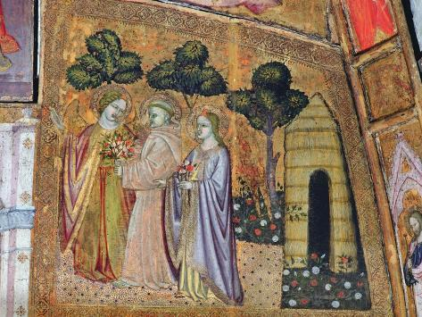 St Francis Accompanied by Two Angels, Fresco from the Porziuncola, 1393 Stampa giclée