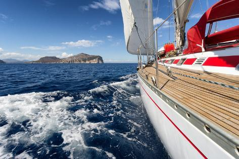 Sail Boat in Sardinia Coast, Italy Photographic Print