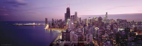 Illinois-Chicago Purple Landscape Poster