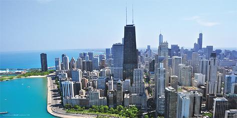 オールポスターズの illinois chicago skyline 高品質プリント