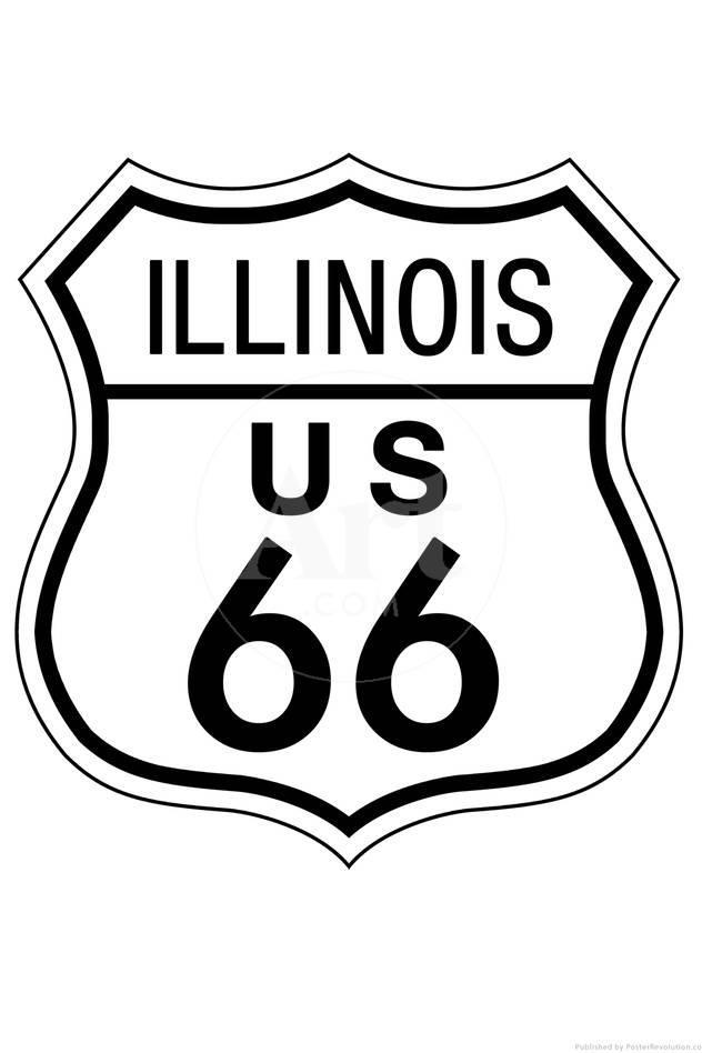 Illinois Route 66 Sign Art Poster Print Posters At Allposters