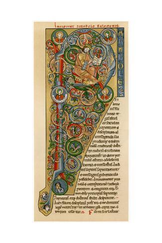 Illuminated Iniitial 'P, 1172 Lámina giclée
