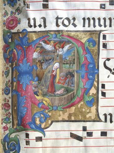 Illuminated Initial Capital Letter Depicting the Nativity Lámina giclée