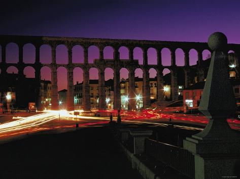 Illuminated Lights at Night by Aquaduct in Segovia, Spain Photographic Print