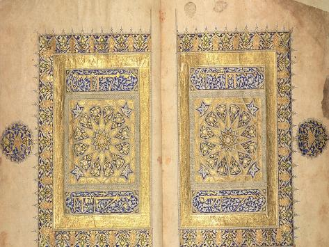 Illuminated Pages from a Koran Manuscript, Il-Khanid Mameluke School Giclee Print