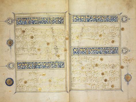 Illuminated pages of a Koran manuscript, Il-Khanid Mameluke School Lámina giclée