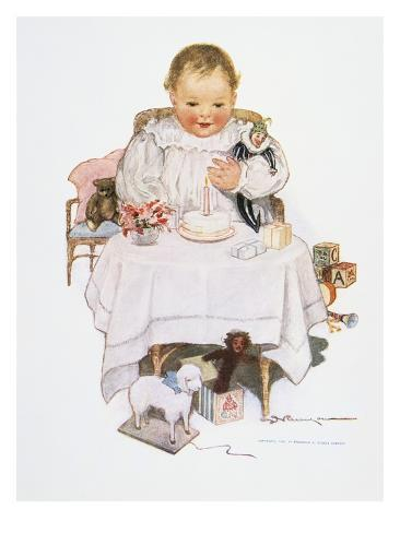 Illustration of a Baby by S.D. Runyon Stretched Canvas Print