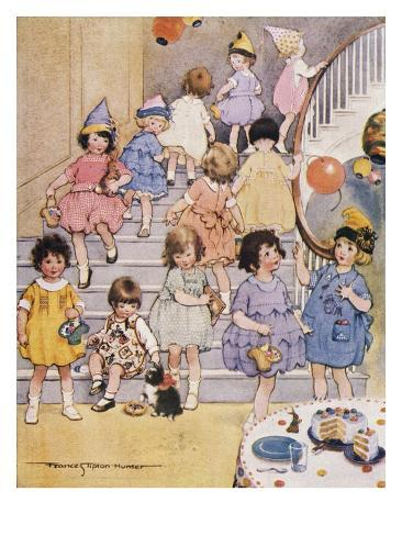 Illustration of a Children's Birthday Party by Frances Tipton Hunter Stretched Canvas Print