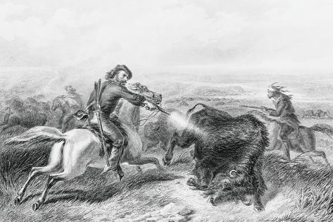 Illustration of Hunter Shooting Buffalo Giclee Print