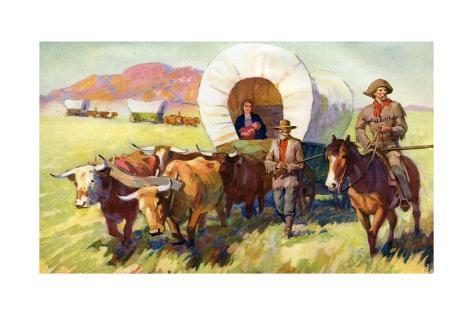 Illustration Of Wagon Train Of American Settlers Moving