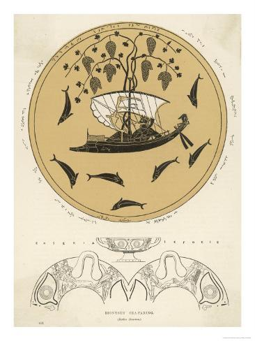Illustration Taken from a Vase Painting of Sea-Faring Dionysos in His Ship Giclee Print