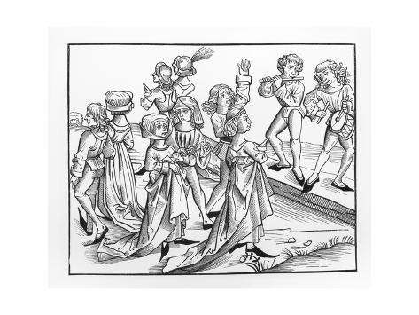 Illustraton of Dancers Being Punished by Dancing for One Year Impressão giclée