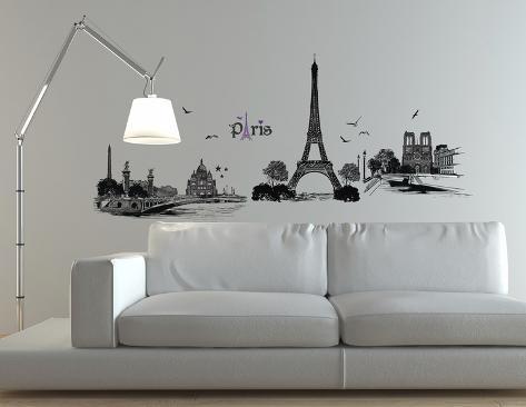 Illustrazione Di Parigi (Sticker Murale) Decalcomania Da Muro Su