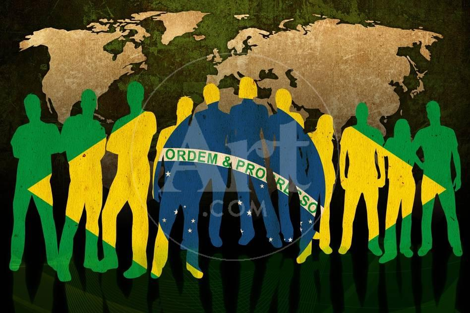 Brazil flag style of people silhouettes and world map background gumiabroncs Images