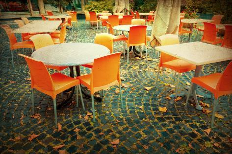 Old-Fashioned Coffee Terrace with Tables and Chairs,Paris France Photographic Print
