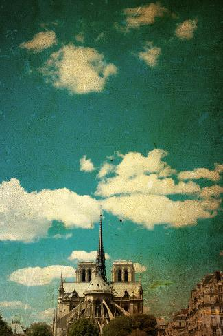 Retro Style Notre Dame Cathedral in Paris France (French for Our Lady of Paris) Photographic Print