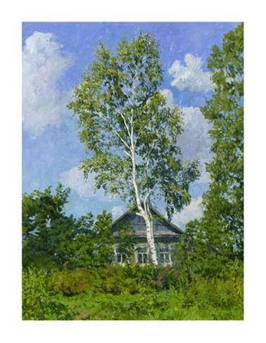 Birch Tree Near Dwelling Giclee Print