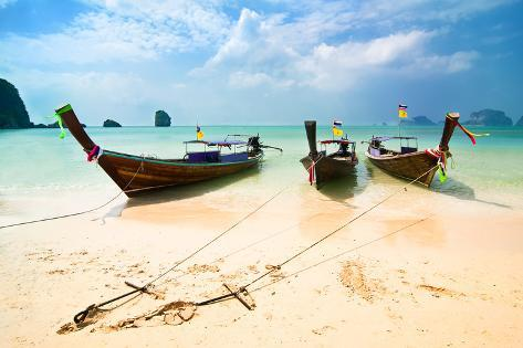Tropical Beach Landscape. Traditional Long Tail Boats at Ocean. Thailand Photographic Print