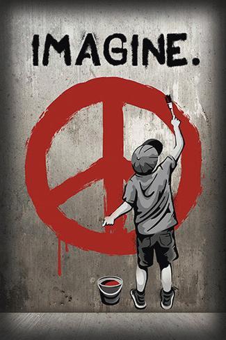 Imagine Peace Graffiti Pôster