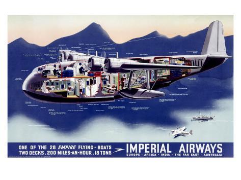 Imperial Airways, Flying Boat Giclee Print