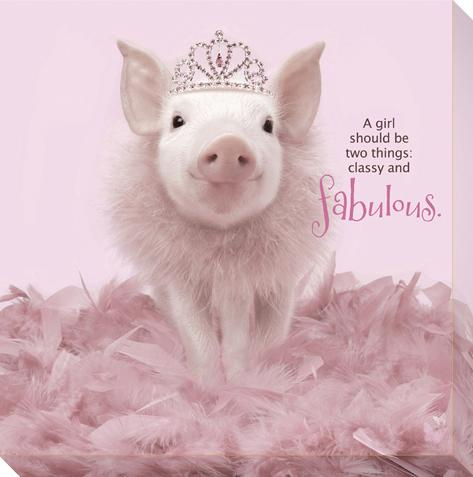 In The Pink! - Princess Pig 1 Stretched Canvas Print