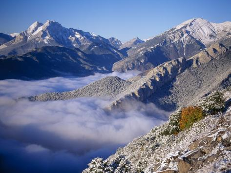 Clouds Fill the Valley of Llobegat in Cadi Moixero Natural Park. Catalonia, Pyrenees, Spain Photographic Print
