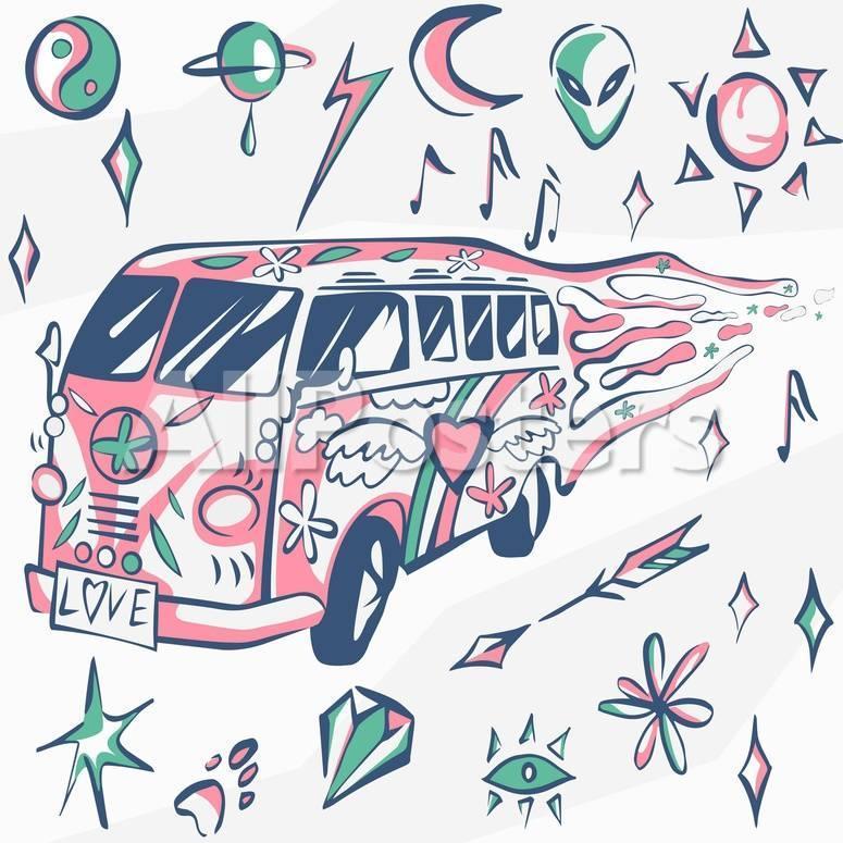 Love Bus Vector Poster Hippie Car Mini Van With Different Symbols