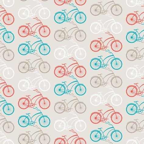 Bicycles Seamless Pattern In Retro Style Art Print