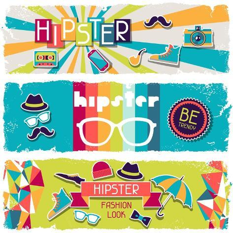 Hipster Horizontal Banners In Retro Style Art Print