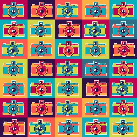 Seamless Pattern In Retro Style With Cameras Art Print