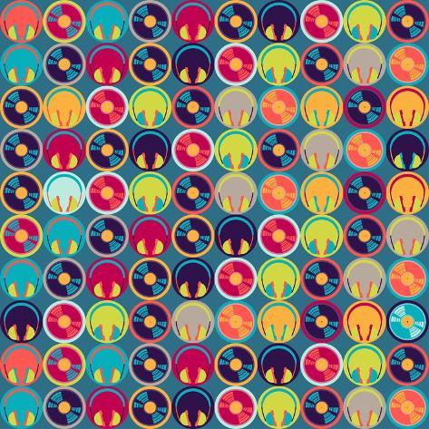 Seamless Pattern With Headphones And Vinyl Record Art Print