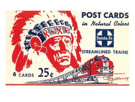 Indian Chief, Streamlined Train, Postcard Folder Art Print
