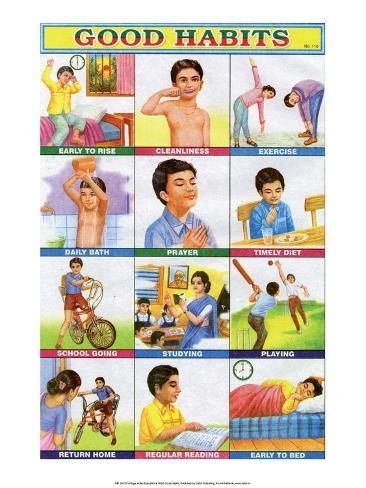 Indian Educational Chart - Good Habits Stampa artistica