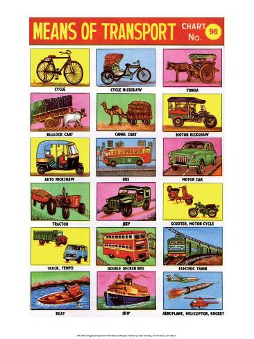 Indian Educational Chart - Means of Transport Stampa artistica