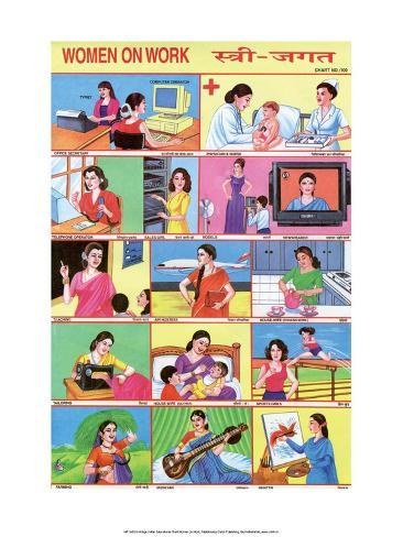 Indian Educational Chart- Women on Work Stampa artistica